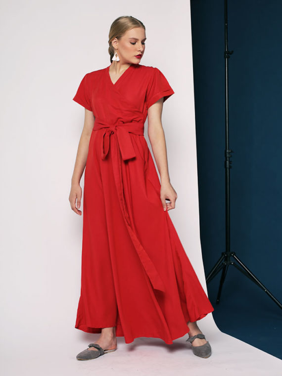 Nerisa Red Wrap Dress 1