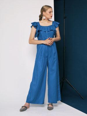Blu Ruffles Jumpsuit1